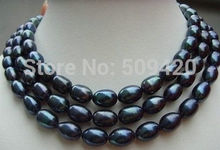 FREE SHIPPING>>@> HOT 49''HUGE surprising AAA south sea black baroque pearl necklace