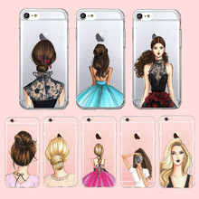 Fashionable Dress Beautiful Hair Girl Back Case For iPhone 6 7 plus 5s Ultra Thin Transparent Clear Soft TPU Silicon Phone Cover