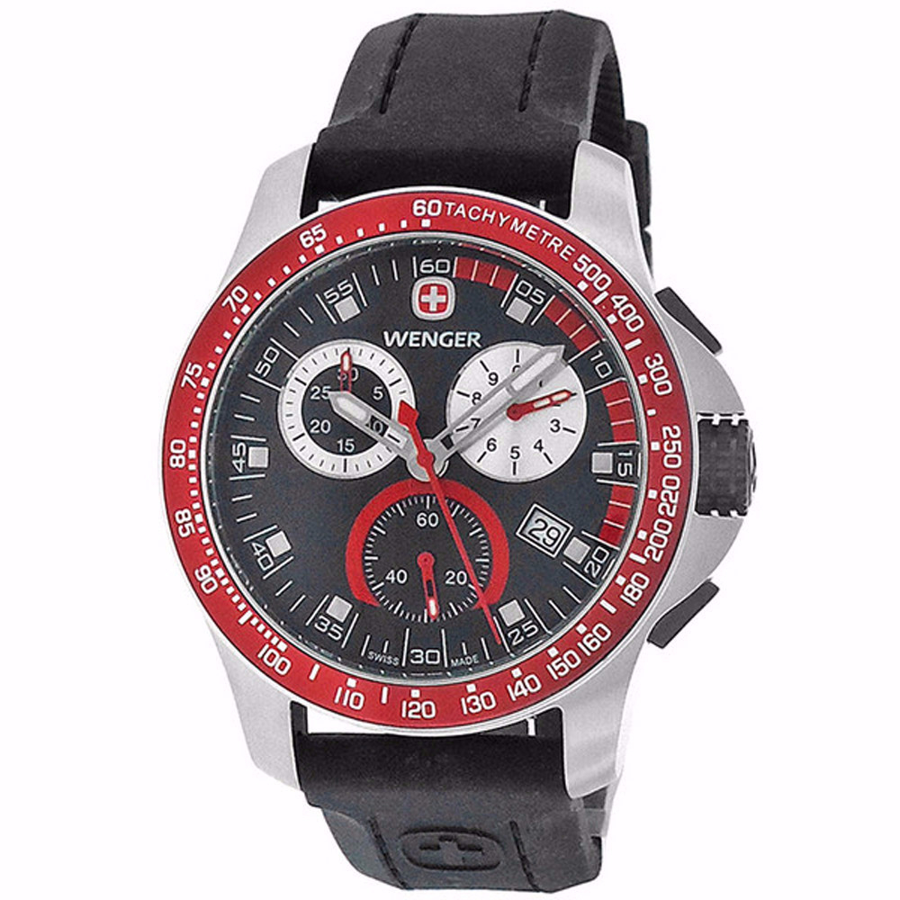 WENGER Mens Battalion Field Chrono Red and Black Rubber Strap Watch 70789