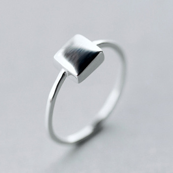 1Pcs Top Simple Design Princess 925 Silver Geometric Square Ring Luxury Fashion Wedding Finger Around Ring Jewelry Drop Shipping