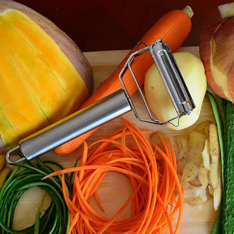 Stainless Steel Julienne Peelers Metal Fruit Vegetable Tools Rotary Sharp Grates Potato Carrot Slicers Cutter Kitchen Gadgets (1)