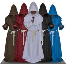 5Colors Medieval Renaissance Friar Priest Cowl Cosplay Costume Monk Hooded Robes Long Cloak Full Set Halloween Costumes(China)