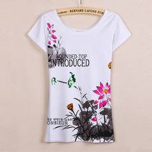 High Quality 2016 Summer New Fashion Print Chinese Style And Handmade Bling Bling On Basic T Shirt Women Casual T-Shirt Tops