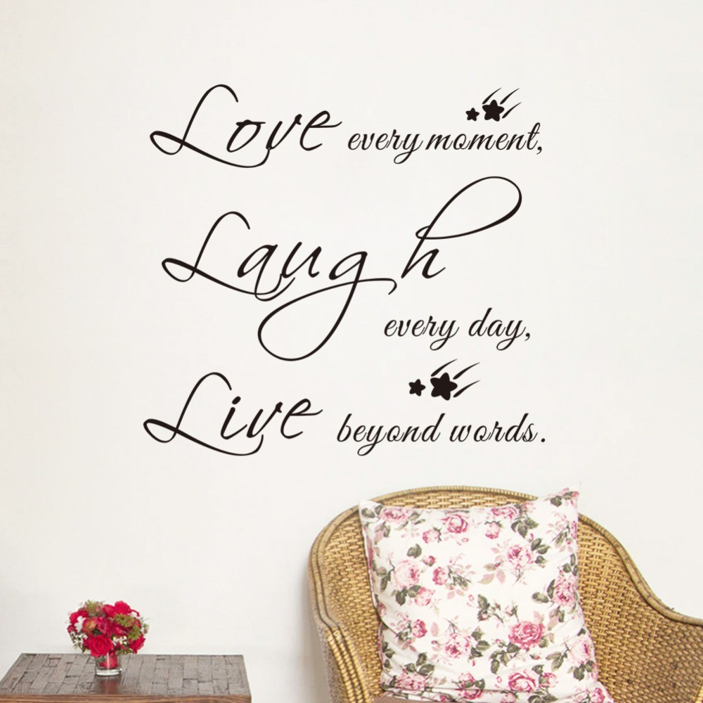 Love Laugh Live Creative Quote Characters Wall Stickers Bedroom Livingroom  Wall Decor Waterproof Removable Adhesive Art