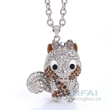 Cute Silver Brown Crystal Squirrel Holding Acorn White Tail Chipmunk Animal Girl Charm Pendant Necklace Jewelry Christmas Gift(China)