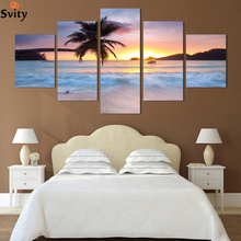 Top-Rated Large HD Canvas Print for Living Room, coco tree & sunset Sea, 5 panel Wall Art Picture/Photo Painting Artwork(China)