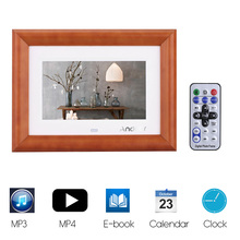"Andoer 7""Wood LCD Digital Photo Frame 800*480 Desktop Support MP3 MP4 Movie Player E-book Calendar Clock w/Remote Controller(China)"