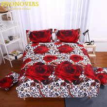 gorgeous 3d rose print queen size romantic bedding set duvet cover bed sheet pillow cases 4pcs kit(China)