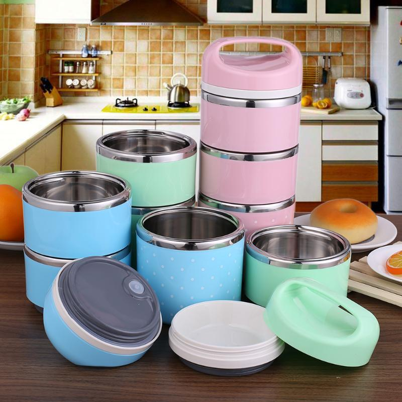 1&3 Layers Stainless Steel Food Storage Container School Student Children Portable Insulated Thermos Bento Lunch Boxs