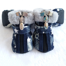 Dog shoes autumn winter Denim snow boots casual dog shoes pet slip-resistant shoes teddy Chihuahua Star Pattern 2 Colors