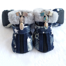 Dog shoes autumn winter Denim snow boots casual dog shoes pet slip-resistant shoes teddy Chihuahua Star Pattern 2 Colors(China)