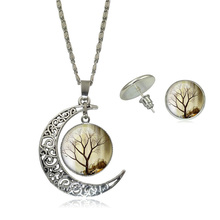 Statement Jewelry Sets Vintage Tree Life Glass Cabochon Pictures Pendant Silver Plated Half Moon Chain Necklace Stud Earring Set
