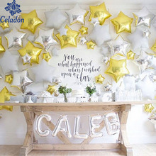 6pcs 18 inch Gold & Sliver Star Foil Balloons Wedding Birthday Party Decor Pure Color Metallic Helium Globos Hot Sale