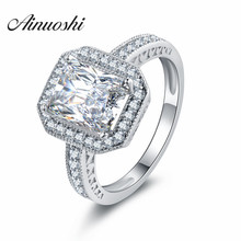 AINOUSHI Princess 925 Sterling Silver Women Wedding Engagement Anniversary Halo Rings 0.8 Carat Square Cut CZ Lady Rings Jewelry
