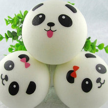 New 10cm Kawaii Jumbo Soft Squishy Panda Buns Bread Bag Cell Phone Strap Cute Animal Panda Charm Random Pattern(China)