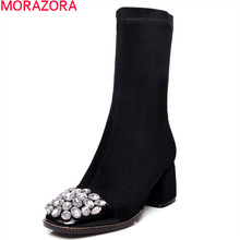 MORAZORA 2017 New fashion cow leather women boots autumn ankle boots round toe sexy rhinestone lady shoes