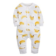 Long Sleeve Kawaii Banana Baby Romper 2017 Baby Winter Clothes Fashion O-neck Unisex Newborn Baby Clothes White Cute Bebek Tulum