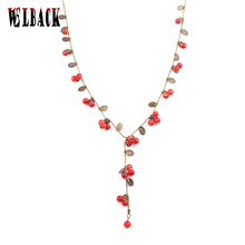 Fashion Bohemia Brand vintage Jewelry for women lovely amorous feelings Cute little cherry long necklace female 2016(China)