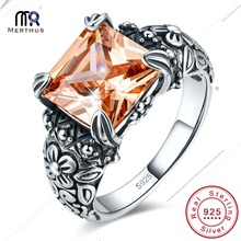 Antique Style 100% 925 Sterling Silver Ring Princess Cut Morganite Floral Band Gemstone Ring for Women Fine Jewelry