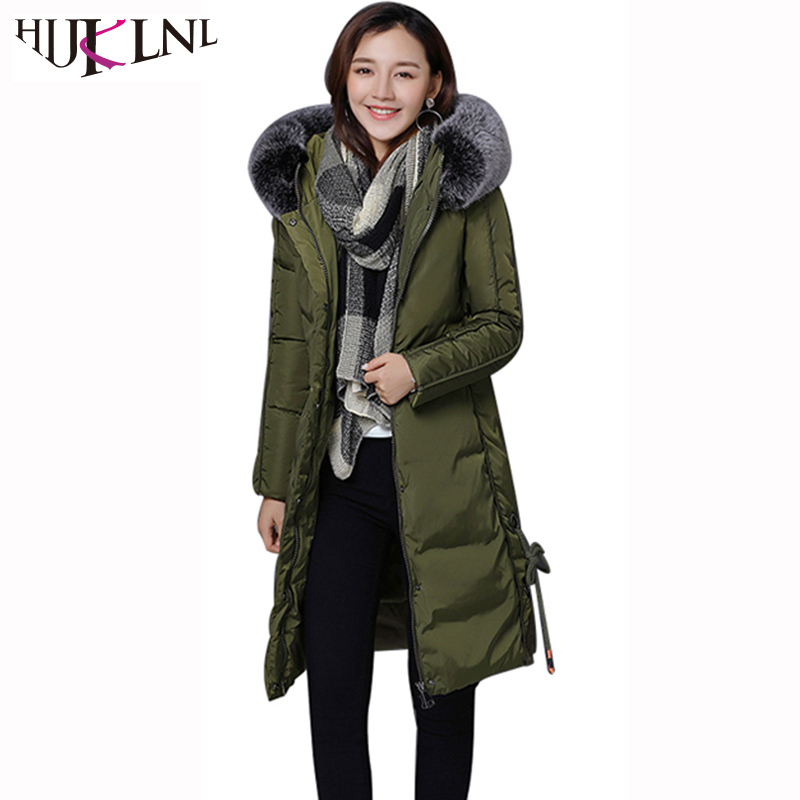 HIJKLNL veste hiver femme Fur Parka Mujer 2017 Winter Coat and Jackets Women Side Lace Up Bandage Long Thick Jacket Padded NA404Îäåæäà è àêñåññóàðû<br><br>