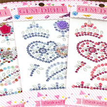 19*8.2cm Multicolor Heart Motif Acrylic Rhinestone Phone PC Car Diy Decal Self-adhesive Rhinestones Scrapbooking Stickers 9Z(China)