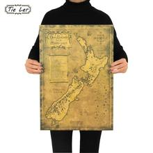 TIE LER New Zealand Mysterious Old Map Poster Restoring Ancient Ways Map Kraft Paper Adornment Picture Poster Wall Sticker