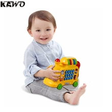KAWO Pull and Learn Car Carrier Pull Toy Baby's First Car Many Funny Animal Sounds