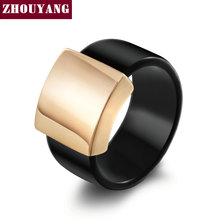 Top Quality Fashion Acrylic Smooth Metal Rose Gold Color Ring Full Sizes Wholesale ZYR344 ZYR345(China)