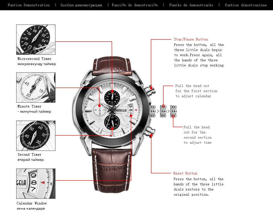 Baogela Mens Chronograph Luminous Hands Date Indicator Fashion Causal Leather Strap Sport Quartz Wrist Watches 4