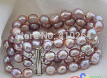 "free shipping $wholesale_jewelry_wig$ free shipping 4row 8"" lavender baroque freshwater cultured pearl bracelet"