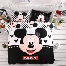 Home textiles 100% cotton adult kids Boys Disney mickey mouse 3d bedding set Queen King size comforter Cover set/bedroom sets(China)