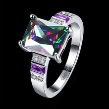PATICO Hot Selling Mystic Rainbow Simulated Multi-Color AAA CZ Crystal Wihte Gold Planitum Filed Wedding Ring With Nice(China)