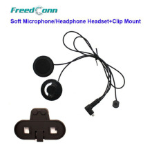 Free Shipping!!Freedconn T-COMFM  T-COMSC Motorcycle Bluetooth Helmet Interphone Soft Microphone/Headphone Headset+Clip Mount