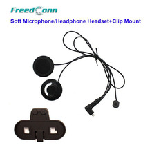 Free Shipping!!Freedconn T-COMFM T-COMSC Motorcycle Bluetooth Helmet Interphone Soft Microphone/Headphone Headset+Clip Mount(China)