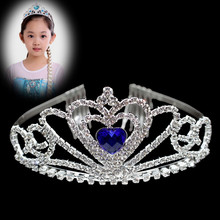 Cute Princess Crown Design Crystal Rhinestone Silver Headband Crabs Hair Accessories For Girls Kids Tiara Jewelry