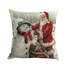 45*45cm Square Christmas Santa Claus Printing Sofa Bed Home Decor Throw Pillow Case Cushion Cover Decorative Pillowcase Cover