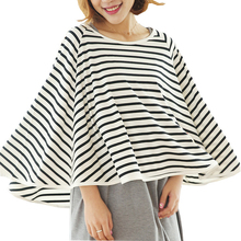 Breathable Baby Breastfeeding Cover Mother Nursing Covers Pregnant Women's Clothing Plus Size Outdoor Striped Feeding Clothes