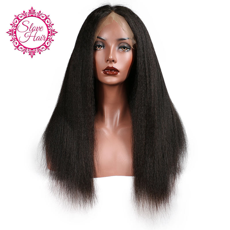 Slove Hair Brazilian Full Lace Human Hair Wigs For Black Women With Kinky Straight Remy Human Hair Yaki Hair Wigs Free Shipping(China (Mainland))