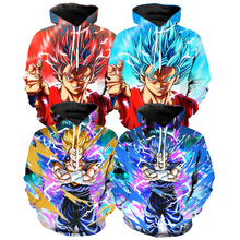 4 style Dragon Ball Z Hoodies 3D Printed Pullovers Sportswear Sweatshirts Super Saiyan Son Goku Vegetto Casual Coat Outfit