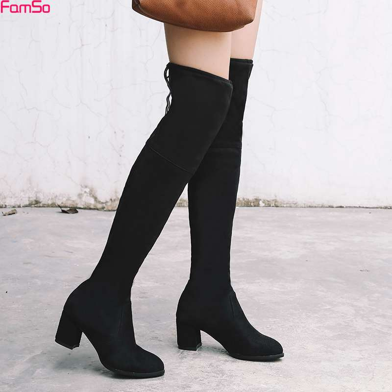 FAMSO 2017 Shoes Women Boots Black Gray thick Heels Motorcycle Boots Shoes Lace-up Russia keep Warm Female Snow Boots Shoes <br>