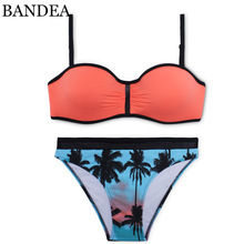 BANDEA Bikini Sexy Bandeau Bikini Set Orange Swimwear Push Up Swimsuit Palm Tree Bikinis Women Swimming Suit Beach Bathing Suit