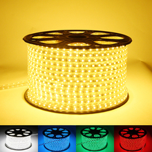 (50 Meter/lot)Waterproof ip67 220V 230V 240V 5050 Flexible led strip light Ribbon 60leds/m Red Green Blue Yellow White RGB+Plug