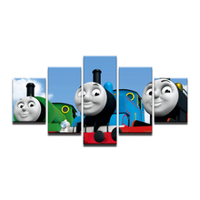 Framed 5 Pieces Set HD Thomas Friends Movie Posters Wall Painting On Canvas Cartoon Train Picture Painting Home Decoration(China)