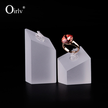 Oirlv free shipping custom frosted acrylic jewelry stands with hook display holder for ring shop