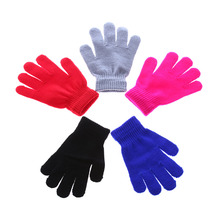 HOT Children Magic Glove Girl Boy Kid Pure Color Stretchy Knitted Winter Warm Red/Black/Blue/Grey/Rose Red Gloves