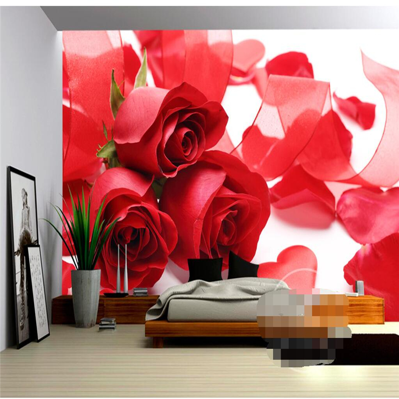 3D wall murals wallpaper home decoration background red rose petal murals 3d living room bedroom sofa background wall wallpaper <br><br>Aliexpress