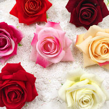 5 PCS/(8 cm) artificial silk roses red head home decoration wedding DIY tracery wall collage decorative artificial flowers