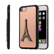 Mirror Soft Case for Iphone 7 Plus Metal Paris Eiffel Tower 3D Cover Full Protector Luxury Elegant Fashion New Back Man Retro