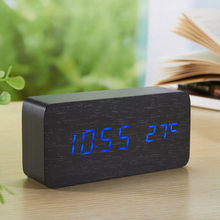 Digital LED Rectangle Wood Desk Alarm Clock Thermometer Snooze Voice Control USB/AAA Peowered Wooden Desktop Electronic Clocks(China)