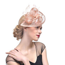 Gorgeous Women's Sinamay Feather Fascinator Hat for Wedding Party Fancy Dress Headwear Photography